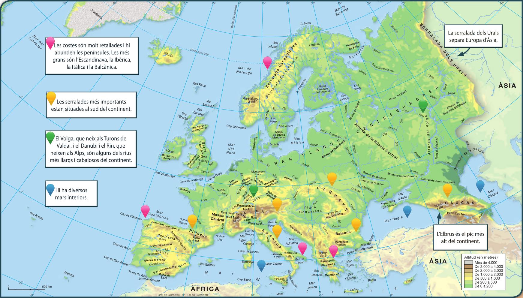 Mapa Fisic D Europa Rius.Blink Activity Blinklearning